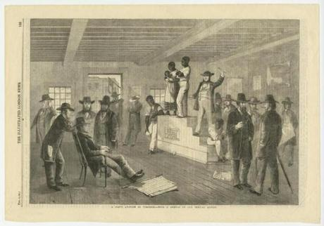"Print of a slave auction in Virginia from ""The Illustrated London News,"" Feb. 16, 1861."